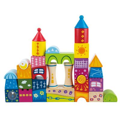 德国hape 60/80粒儿童木制实木积木玩具 大块数字字母印花木质积木