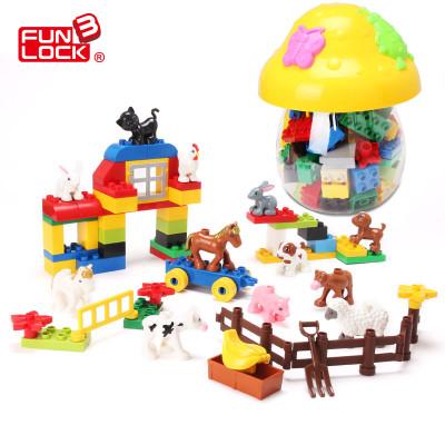 欢乐客农场动物场景 12萌宠大颗粒积木 宝宝启蒙拼插儿童玩具大块