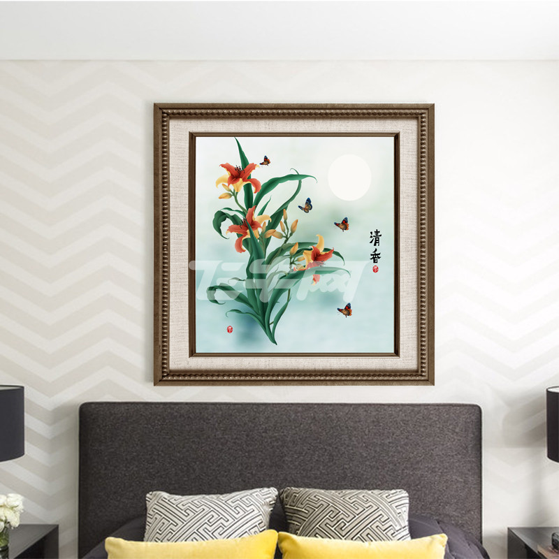 客厅卧室装饰画挂画 ps手绘花卉装饰画 单联有框画 带