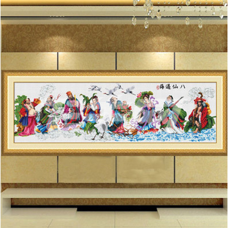 纯手工 十字绣成品八仙过海 新款客厅大幅人物挂画2.