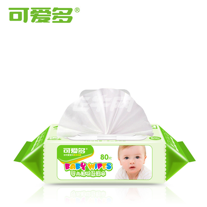 可爱多婴儿洁肤柔湿巾 80抽(带盖)10包