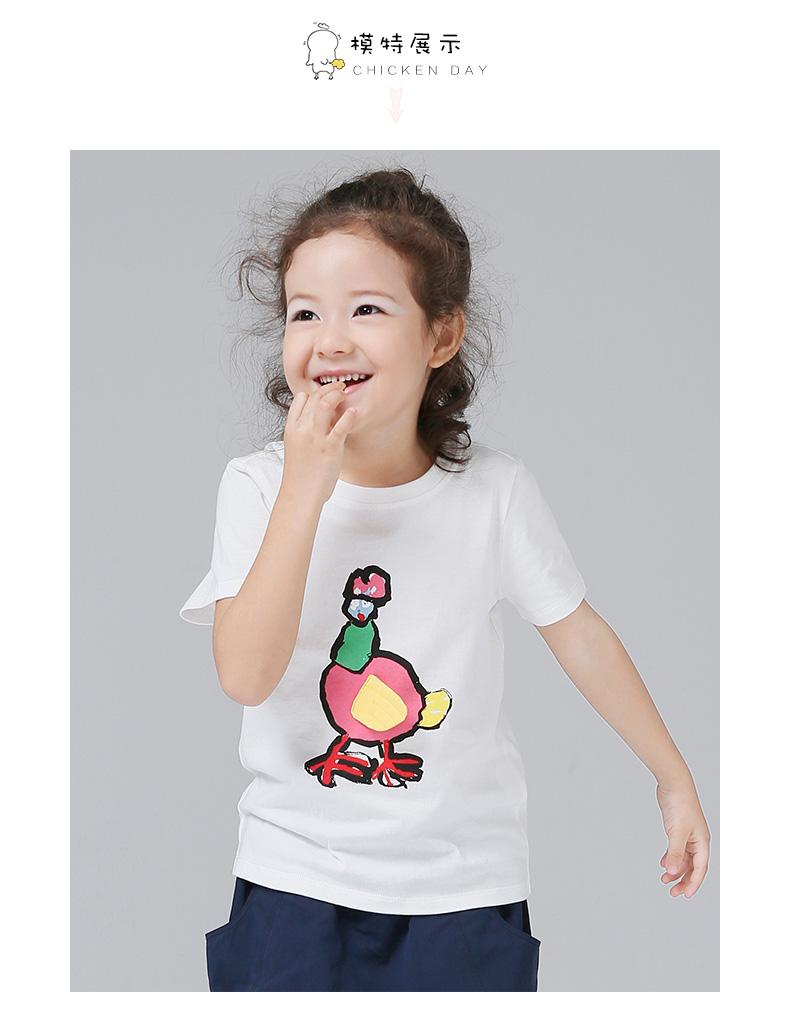 初语初中2017夏作文装中大童小鸡T恤纯棉印花女童感悟的到童装100字图片