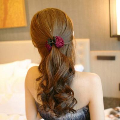 taoyee 简约时尚韩版玫瑰花花朵抓夹韩版发抓发夹发卡马尾夹头发饰品