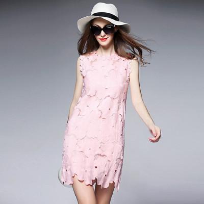 2016夏装新款欧洲站蕾丝花边拼接刺绣镂空无袖修身