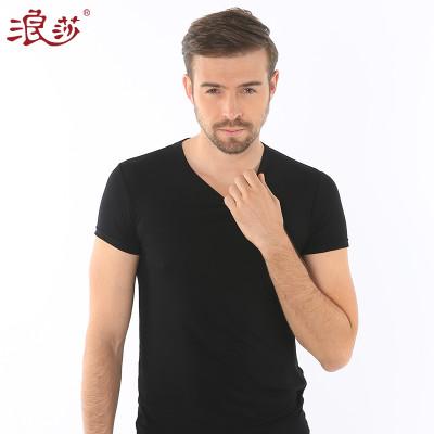 浪莎夏季男士纯色短袖T恤休闲工字背心木纤维舒适亲肤薄款打底衫价格