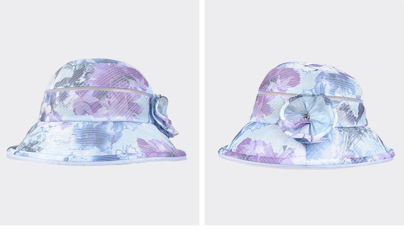 kenmont帽子女夏天遮阳帽韩国时尚印花盆帽宽檐渔夫帽太阳帽凉帽3301
