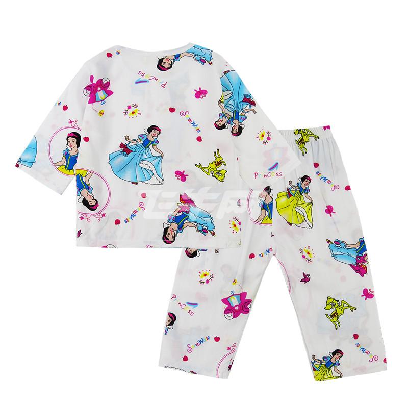 咔啦嘟熊夏季棉绸儿童睡衣套装男童女童中袖长裤薄空调家居服