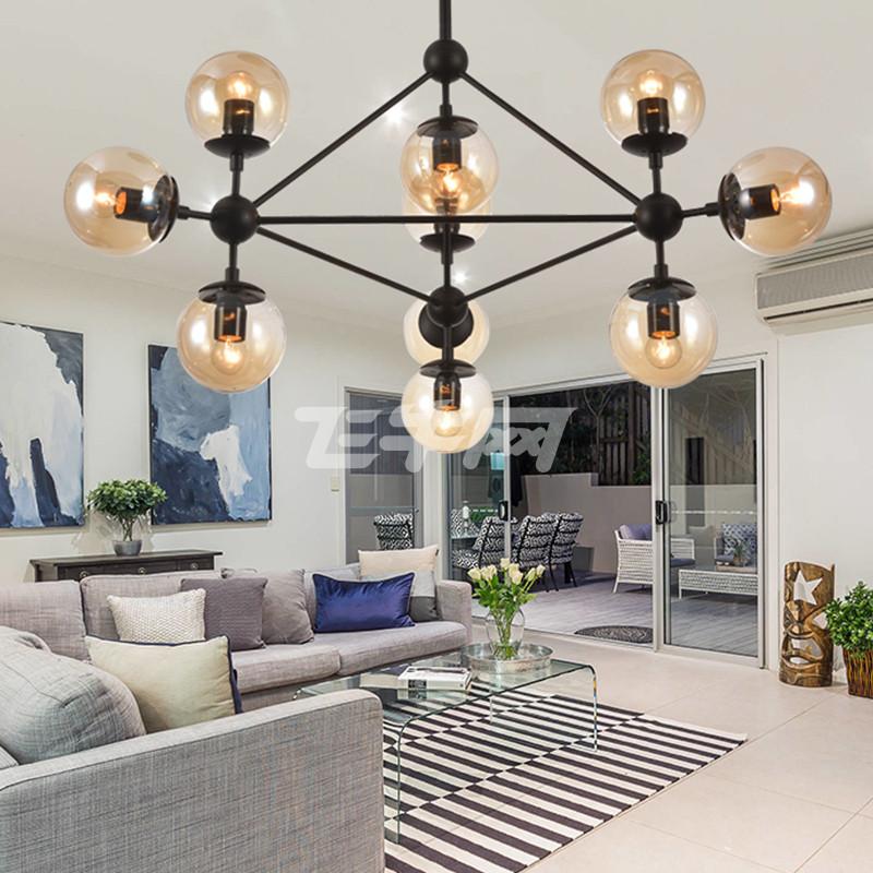 乐亦魔豆吊灯个性创意吊灯北欧风led复古铁艺玻璃圆球
