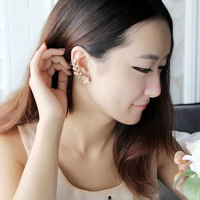 美丽公主韩国耳饰 可爱猫眼花朵无耳洞大耳环女时尚大耳钉长款单边耳