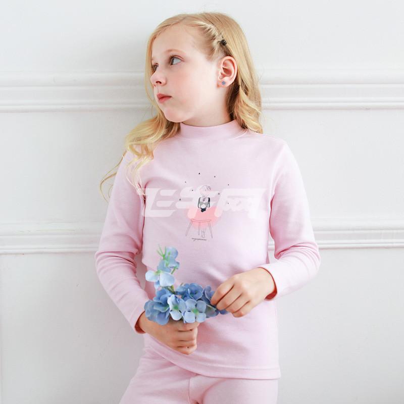 彩桥儿童保暖内衣套装纯棉女童秋衣秋裤热力棉保暖套装 儿童内衣