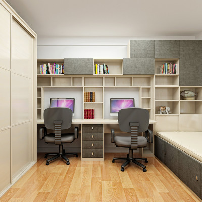 sogal索菲亚 衣柜 现代简约风格书房 推拉门整体衣柜书柜电脑桌榻榻米
