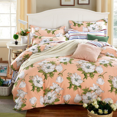 全棉斜纹简约时尚小清新卡通床单式四件套