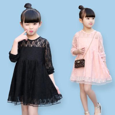 优优1点2017春季新款童装女童春装公主裙儿童2017春夏款蕾丝连衣裙