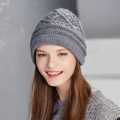 卡蒙毛线帽子女冬季手工编织针织帽时尚韩国保暖羊毛帽套头护耳帽