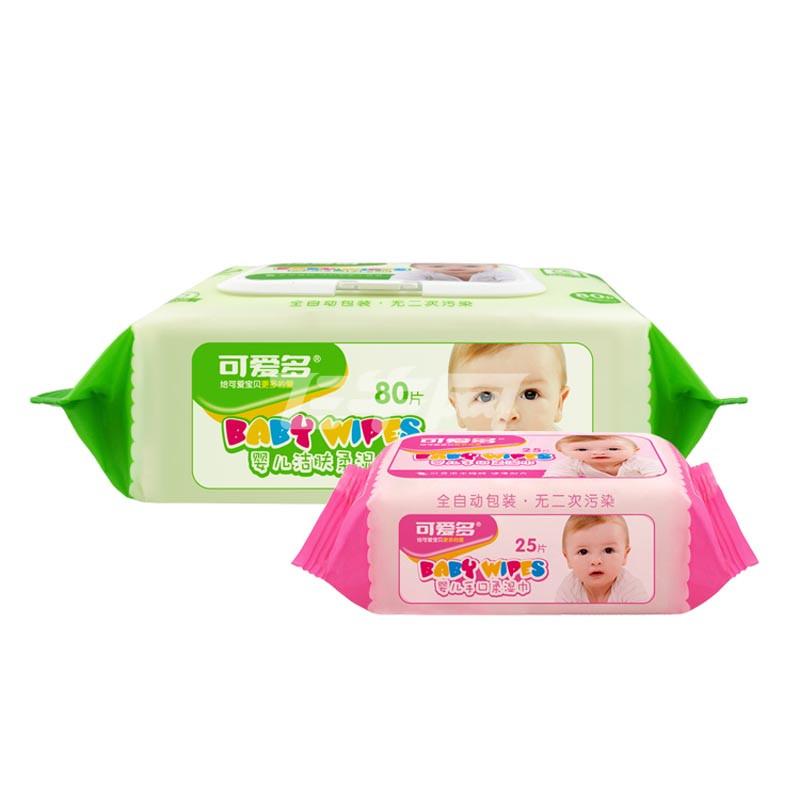 可爱多婴儿洁肤柔湿巾80片*4包 25片*6包