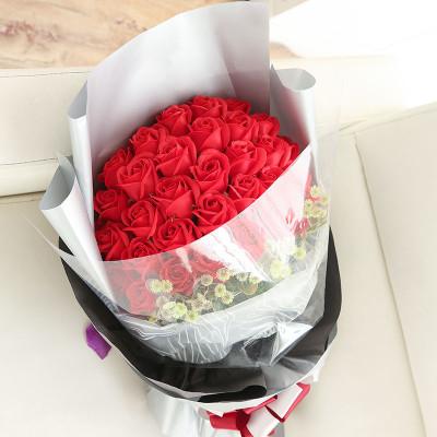 柯莉33朵玫瑰香皂花礼盒情人节礼物 韩式包装花束新款 dh14