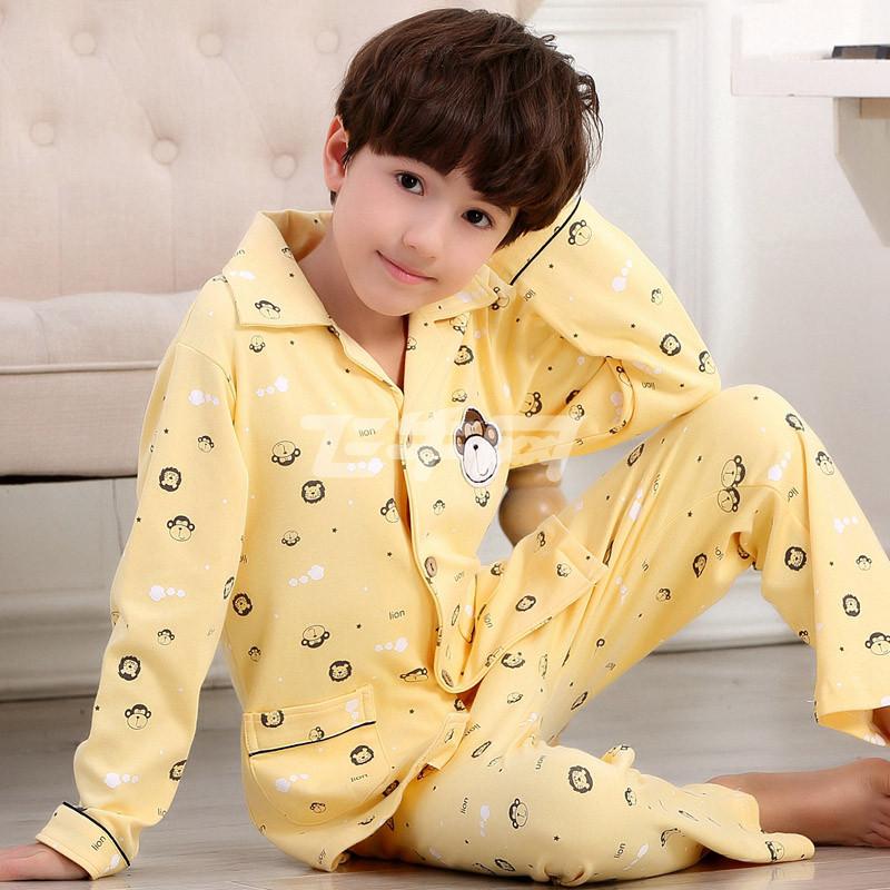 新款春秋款长袖韩版男童儿童睡衣纯棉儿童家居服中大童7套装9周岁男孩