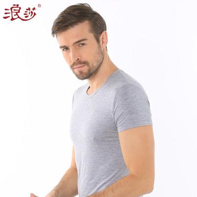 浪莎夏季纯色男士T恤木纤维短袖休闲工字背心舒适亲肤薄款打底衫报价