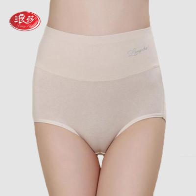 【2件7折】浪莎4条装女士内裤棉质高腰女内裤孕妇产后收腹裤三角裤正品