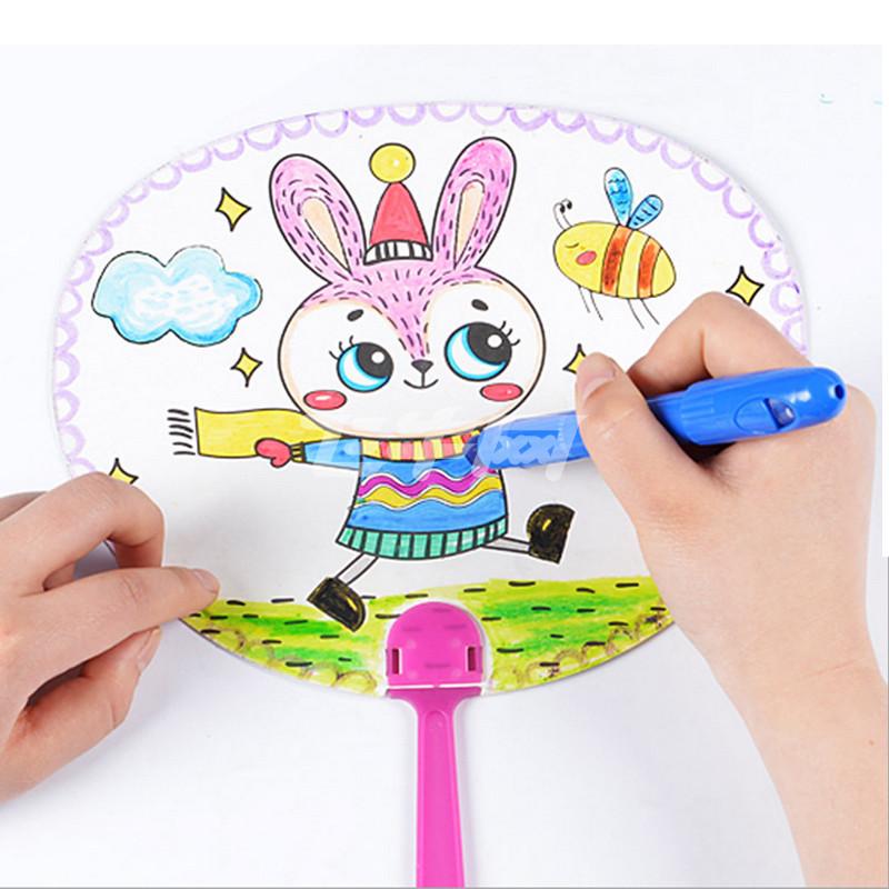 小皇帝芙蓉天使儿童填色卡手工diy制作材料扇子涂色画